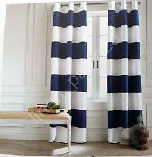 White And Blue Striped Curtains Navy Striped Curtains Ebay