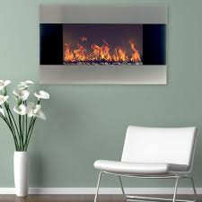 northwest 35 in stainless steel electric fireplace with wall