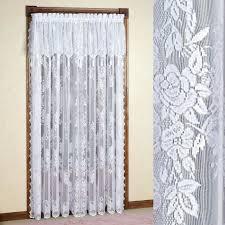 Swag Shower Curtain Sets 3 Piece Semi Sheer Window Curtain Set Botanical Design 2 Tiers 1