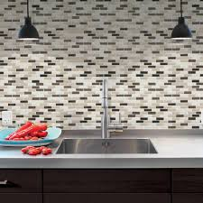 Smart Tiles Murano Dune  In X  In Peel And Stick - Home depot tile backsplash