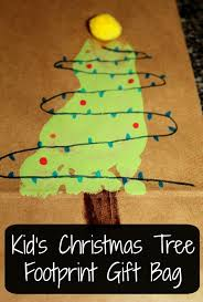 kid u0027s christmas tree footprint gift bag tales of beauty for ashes