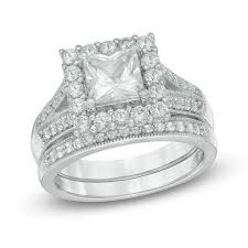 zales outlet engagement rings 6 0mm princess cut lab created white sapphire frame bridal set in