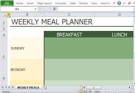 Meal Plan Excel Template Weekly Diet Plan Template For Excel