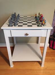 a thrift store table is turned into a creative children u0027s chess