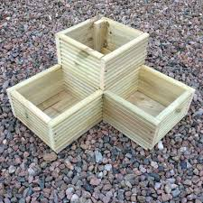 large corner l shaped wooden garden planter box trough herb