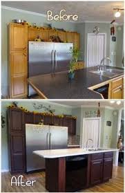 How To Restain Kitchen Cabinets by How To Easily Refinish Kitchen Cabinets Without Stripping Off The