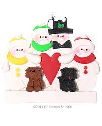 family ornaments 4 snowmen 2 dogs family ornament