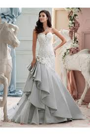dusty wedding dress mermaid sweetheart dusty blue organza ruffle lace wedding dress