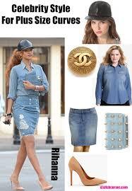 celebrity style for plus size curves get rihanna u0027s denim skirt