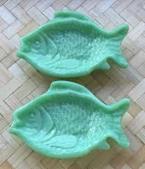 2 martha stewart by mail le smith jadeite green milk glass fish