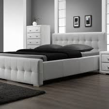 White Leather Platform Bed White Leather Headboard King Size Foter