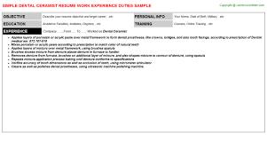 Sample Controller Resume by Dental Ceramist Resume Sample