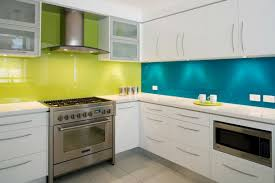 kitchen backsplash yellow and teal back painted glass kitchen