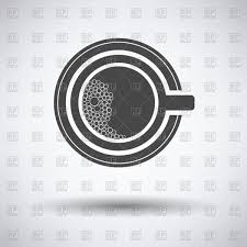 top view of coffee cup with foam bubbles icon on gray background