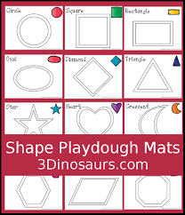 free printable shape playdough mats 3 dinosaurs shape playdough mats