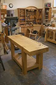 french oak bench w wooden wagon vise garage workshop pinterest