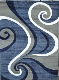 Modern Blue Rugs 0327 Blue Purple Gray Turquoise Black Modern Area Rug