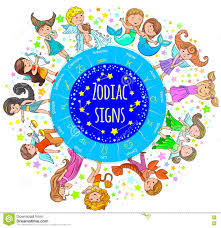 zodiac signs kids round board stock vector image 74569134