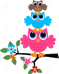 three colorful owls royalty free cliparts vectors and stock
