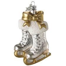 glitter skates bow tree ornament gold silver