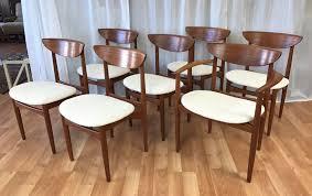 set seven uncommon drexel teak dining chairs past perfect
