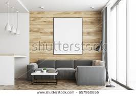 Wall Bar Table Living Room Studio Apartment Wooden White Stock Illustration
