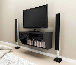 black stained oak wall mounted media shelf and tv stand of trendy