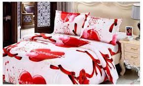 Red Bedding Queen King Size 3d Red Heart Bedding Sets Cover Bed Sheet
