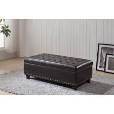 Tufted Storage Ottoman Royal Comfort Collection Luxury Dark Brown Tufted Storage Bench