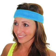 workout headbands 80 s neon blue headband unisex clothing