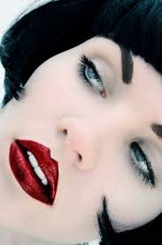 Hair Color For White Skin Color Contrast Deep Red Lips On White White Skin With Silver Blue