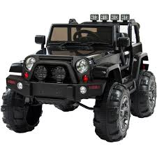 jeep black wrangler jeep wrangler black 12v battery ride on car truck rc remote