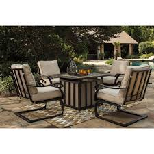 Ashley Outdoor Furniture Outdoor 5 Piece Fire Pit Table Set By Signature Design By Ashley