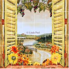 Kitchen Mural Backsplash Sunflowers Vineyard Backsplash Tile Mural For Country Kitchens