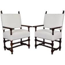 Antique Upholstered Armchairs Pair Of Original Antique French Walnut And Needlepoint Throne