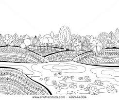 free printable coloring pages for adults landscapes printable coloring page adults landscape lake stock vector hd