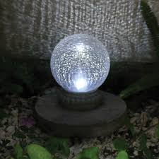 Gazing Ball And Stand Smart Solar Crackled Glass Solar Powered Chameleon Gazing Ball