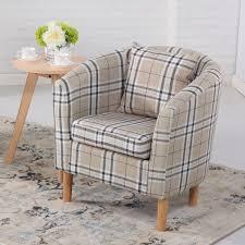Check Armchair Fabric Tub Chairs Deluxe Tartan Fabric Tub Chair Armchair Cream