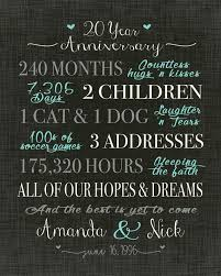 20 year anniversary gifts for 20 year anniversary gift wedding anniversary gift print gift for