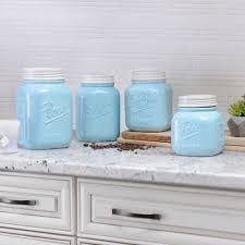 square kitchen canisters blue and ivory kitchen canisters set of 4 kirklands
