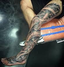 shin tatoos biomechanical leg sleeve best tattoo design ideas