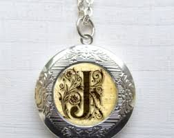 monogrammed locket monogram locket etsy