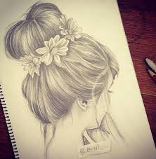 drawings with hair in bun side veiw google search