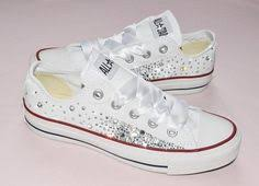 Wedding Shoes Converse Wedding Converse Trainers With Crystals Lace By Thecherishedbride