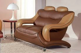 7055 modern dark brown and light brown leather living room set