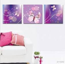 Butterfly Kids Room by 3 Panel Home Wall Decorative Art Picture Printed Abstract Purple