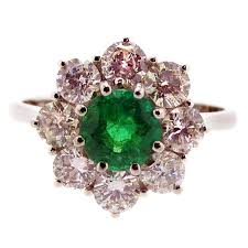 vintage emerald engagement rings vintage emerald and diamond cluster style engagement ring 18 carat