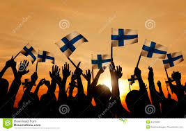 Holding The Flag Silhouettes Of People Holding The Flag Of Finland Stock Image