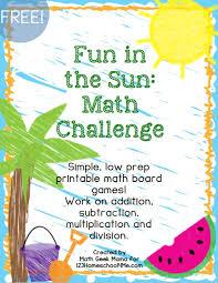 fun math games for summer free printables
