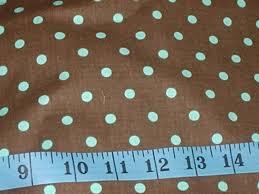 michael miller dumb dot chocolate brown light blue dots fabric 1